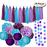 Arts & Crafts : Paxcoo 29 Pcs Purple and Blue Party Decorations with Tissue Pom Poms Lanterns Tassel Garland for Birthday Baby Shower Decor