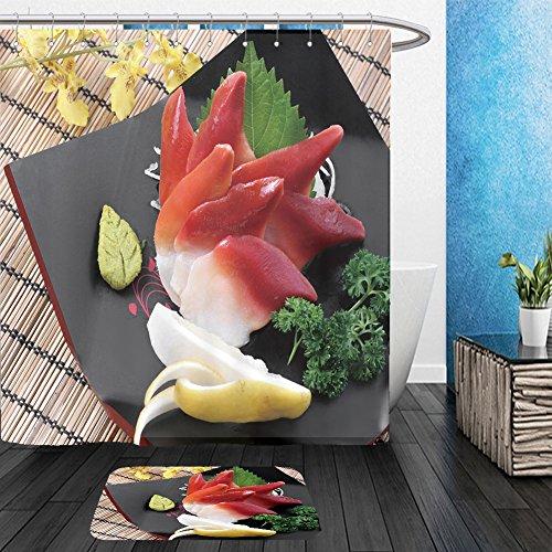 Vanfan Bathroom 2?Suits 1 Shower Curtains & ?1 Floor Mats japanese food sushi set arctic shellfish design photo 139530398 From Bath room