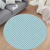 Nalahome Modern Flannel Microfiber Non-Slip Machine Washable Round Area Rug-ertical Pattern with Curvy Circular Starry Shapes Vintage Print Blue Light Blue and White area rugs Home Decor-Round 67''