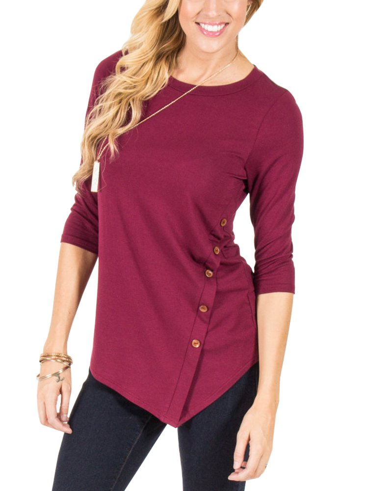 EastLife Womens Casual Crew Neck Tops 3/4 Sleeve Asymmetrical Button Side Shirts Blouse