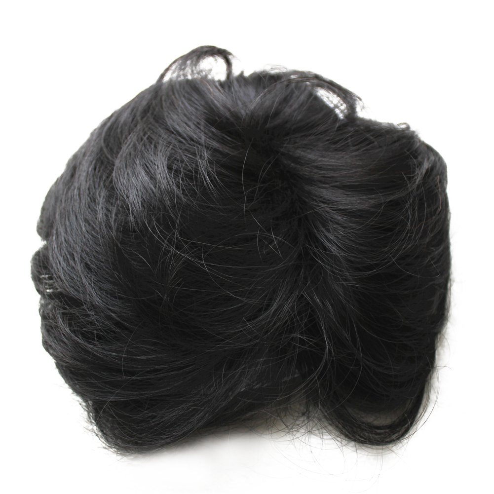 Remeehi Fluffy Light Wave Real Human Hair Top Piece Hand Made Tied Invisible Clip in Bangs Hair Topper for Thin Hair Black Brown
