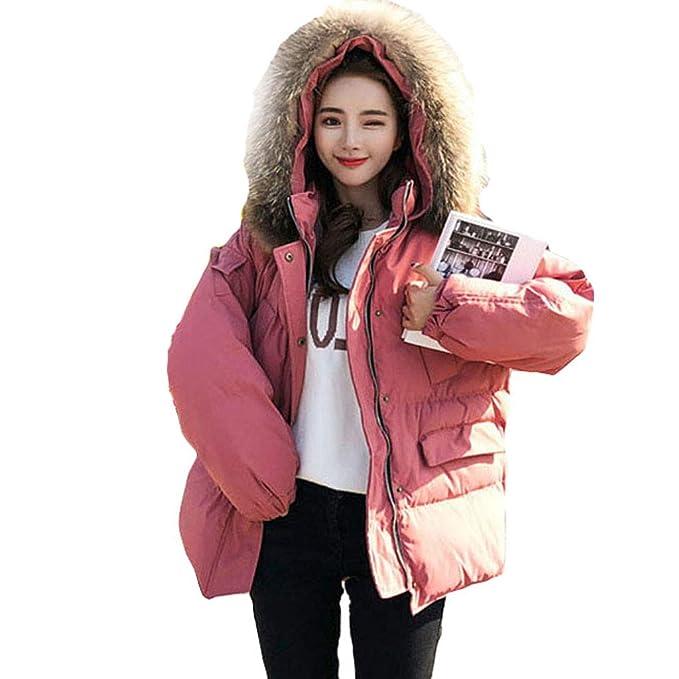 Abrigos Cuello de Piel Grande, Corto versión Coreana Servicio de Pan con Relleno de algodón algodón Rosado Rosa Ambiente: Amazon.es: Ropa y accesorios