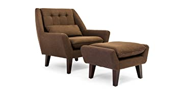 kardiel stuart midcentury modern lounge chair u0026 ottoman chevron brown tailored twill - Mid Century Lounge Chair
