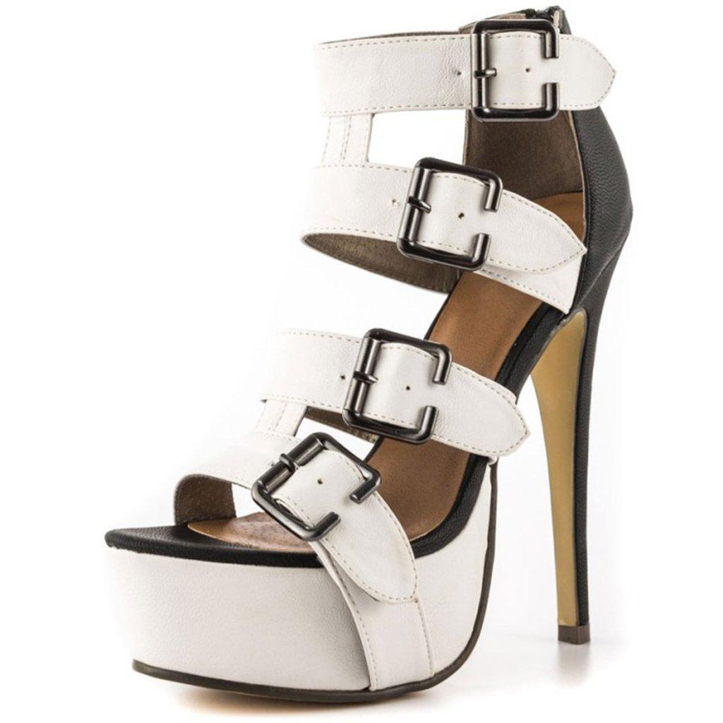 Kitzen Femmes Sandales Chaussures Roman Court 19736 Style Boucle De De Mode Peep Toe Talons Hauts Stiletto Court Bottes De Mode Pompe De Soirée - a03f79d - epictionpvp.space