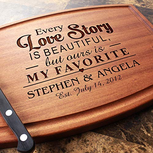 - Personalized Cutting Board Arched, Custom Keepsake, Engraved Serving Cheese Plate, Wedding, Anniversary, Engagement, Housewarming, Birthday, Corporate, Closing Gift #013