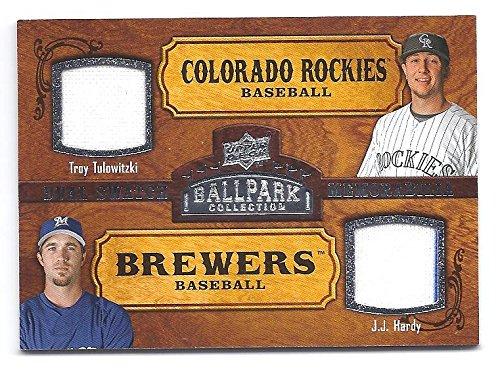 (TROY TULOWITZKI J.J. HARDY 2008 Upper Deck Ballpark Collection #173 DUAL Game Used JERSEY Card Toronto Blue Jays Baltimore Orioles Baseball)