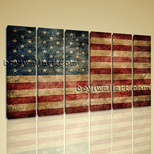 Large Vintage American Flag Other Contemporary Canvas Wall Art Decor Living Room, Large map Wall Art, Living Room, Rope