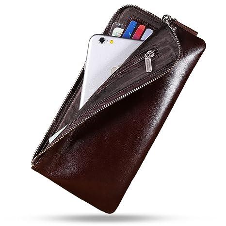 Carteras de doble tiempo de hombres/Cuero juvenil el primer paquete de capa cuero zip