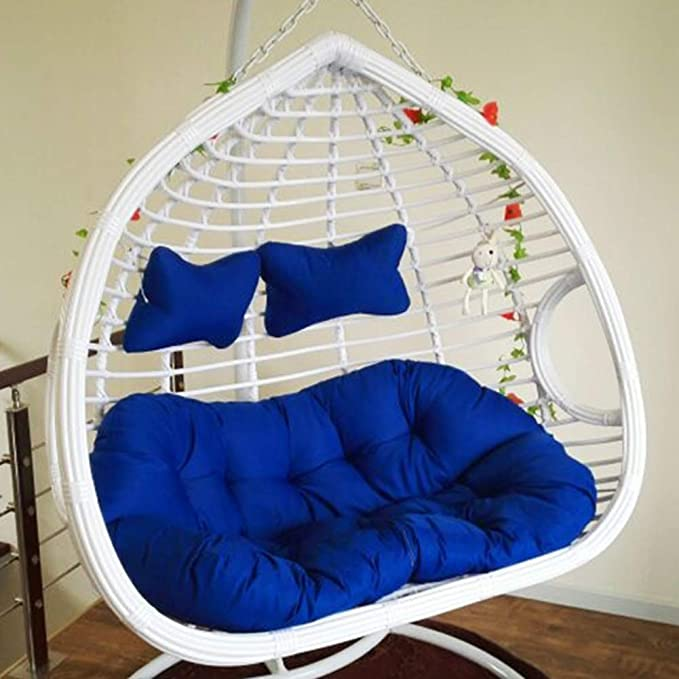 YEARLY Egg Nest Shaped Cushions, Basket Cushion Wicker Rattan Swing Pads Hanging Hammock 2 Persons Seater Zipper Washable no Chairs-Blue ...