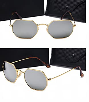 Herren Sonnenbrille Retro Metall Polygonal Glas Sonnenbrille High - Definition Farbe Linse Reflektierende Goldrahmen Schwarz Grau Linse tkk1FeAi