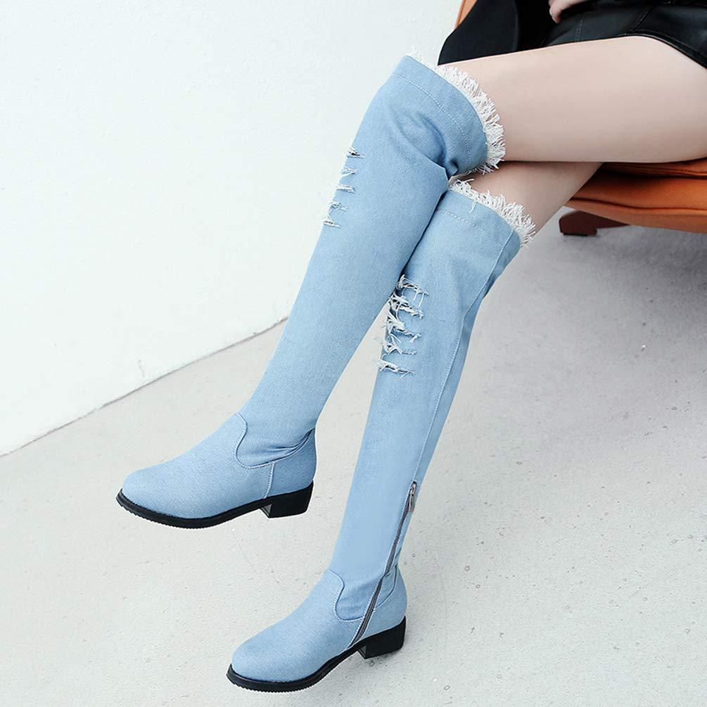 SHOWHOW Langschäfter Damen Jeansstoff Flach Runde Kappe Schmal Langschäfter SHOWHOW Stiefel 3e03ed