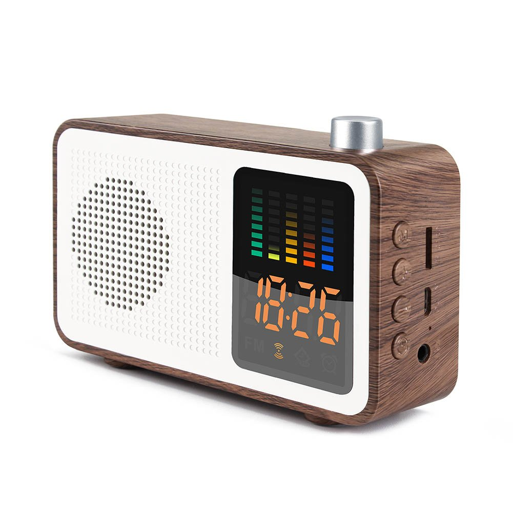 SEATIGER Retro Portable Bluetooth Speaker with Digital Alarm Clock Radio FM, Support TF Card/AUX-in and USB Charging (Walnut)