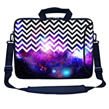 "Meffort Inc 17 17.3 inch Neoprene Laptop Bag Sleeve with Extra Side Pocket, Soft Carrying Handle & Removable Shoulder Strap for 16"" to 17.3"" Size Notebook Computer - Chevron Pattern Galaxy"