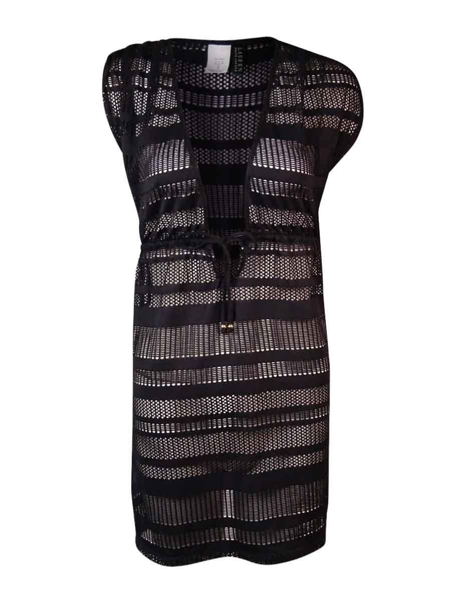 RALPH LAUREN Lauren Women's Horizon Belted Tunic Swim Cover (L, Black)