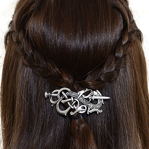 Viking Celtics Hair Accessories Hairclip-Celtic Knots Viking Hair Clip Men Vintage Antique Silver Stick Slide Hairpins Viking Jewelry Dragon Hair Decor Accessories -