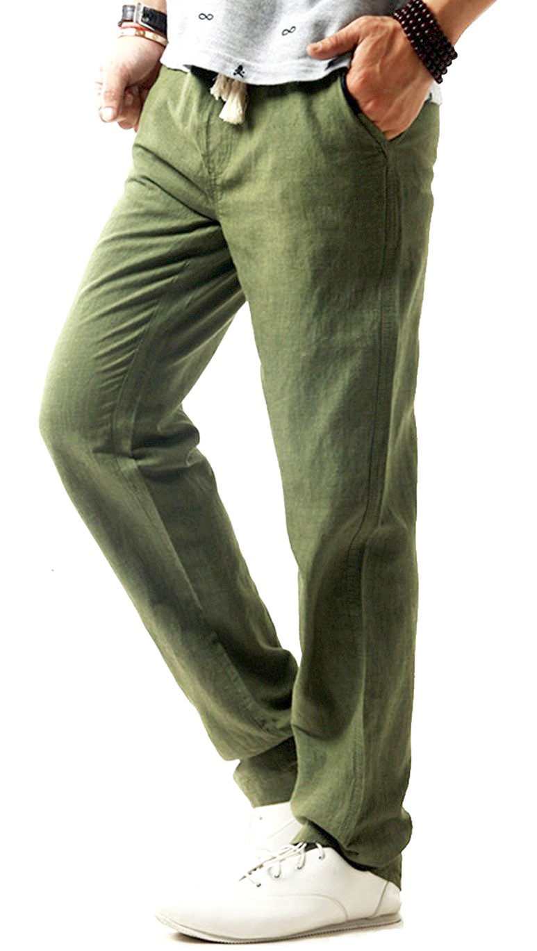 TBMPOY Men's Linen Casual Elastic Loose Fit Straight Pants Yoga Beach Summer Trousers(1 Green,us S)