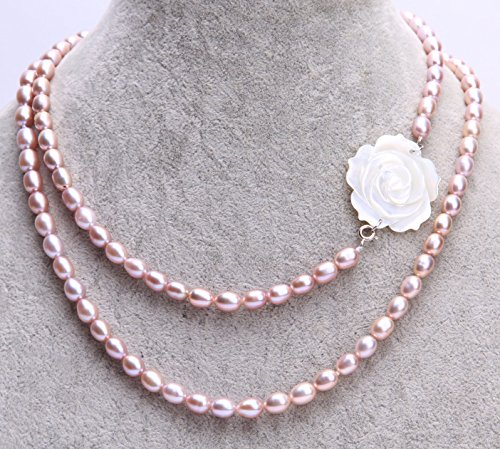 Oh My Lady * Purple 6-7mm Rice Freshwater Pearls with White Mother of Pearl Rose 35 inch/90cm Opera Necklace (2 Ways to Wear) - Gift Boxed with Gift Card