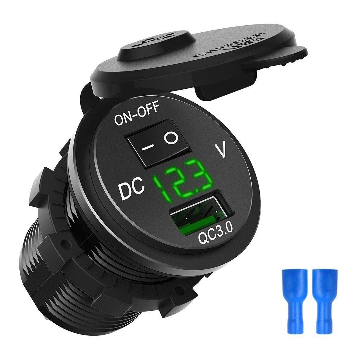 ZYTC Waterproof QC3.0 Car Charger USB Outlet Socket 12V//24V Blue LED Digital Voltmeter with On//Off Switch for Car Boat Motorcycle Marine