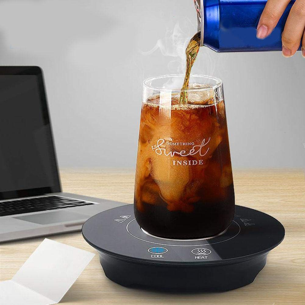 BTLIFE 2-in-1 Smart Cup Warmer Cup Cooler Portable Car Electric Cup Waterproof Tempered Glass Cooling & Heating Plate for Office Desk Use by BTLIFE