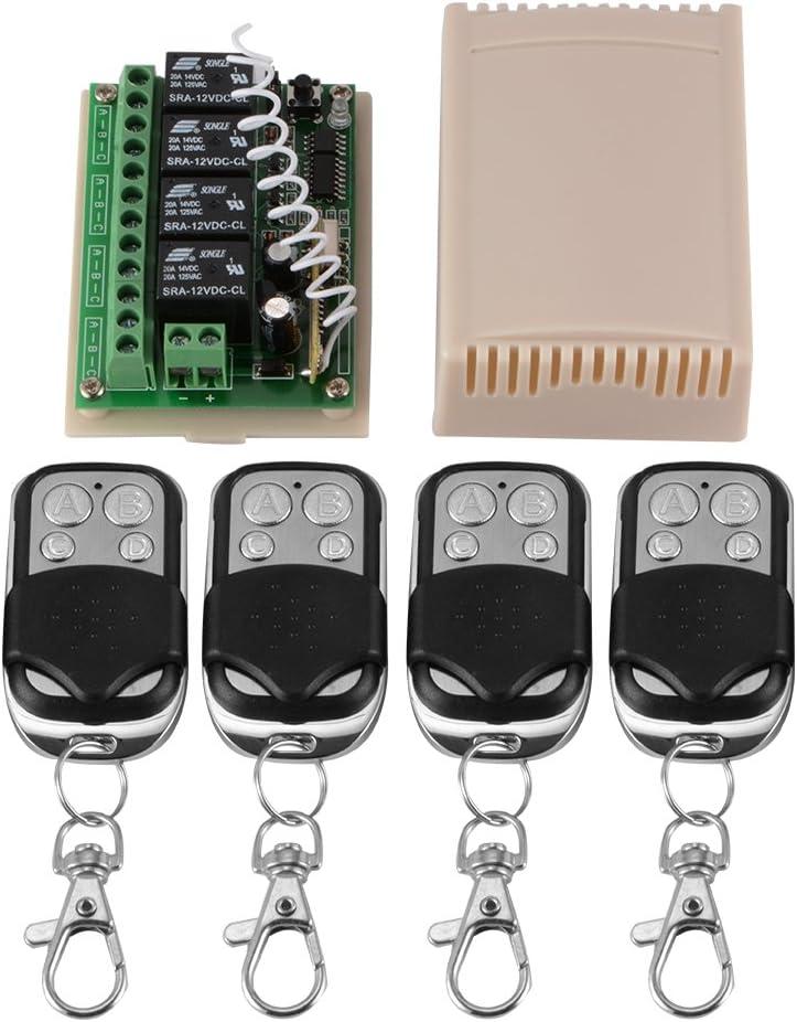 Xcsource - Mando a distancia inalámbrico de CD y 12 V con botones, 4 canales, 4 transmisores + 1 receptor HS826
