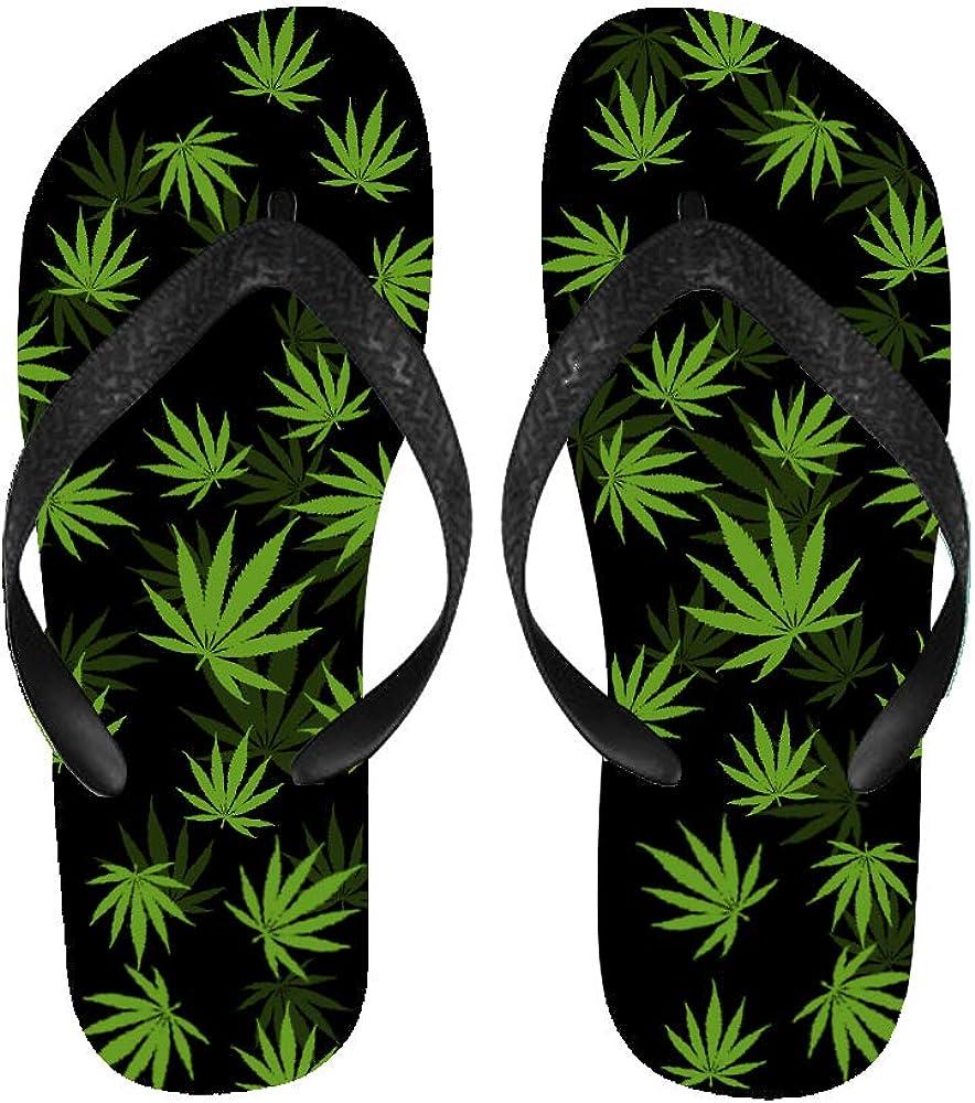BrowneOLp Flip Flops Weed Leaf Sandals Beach Slippers for Men//Women