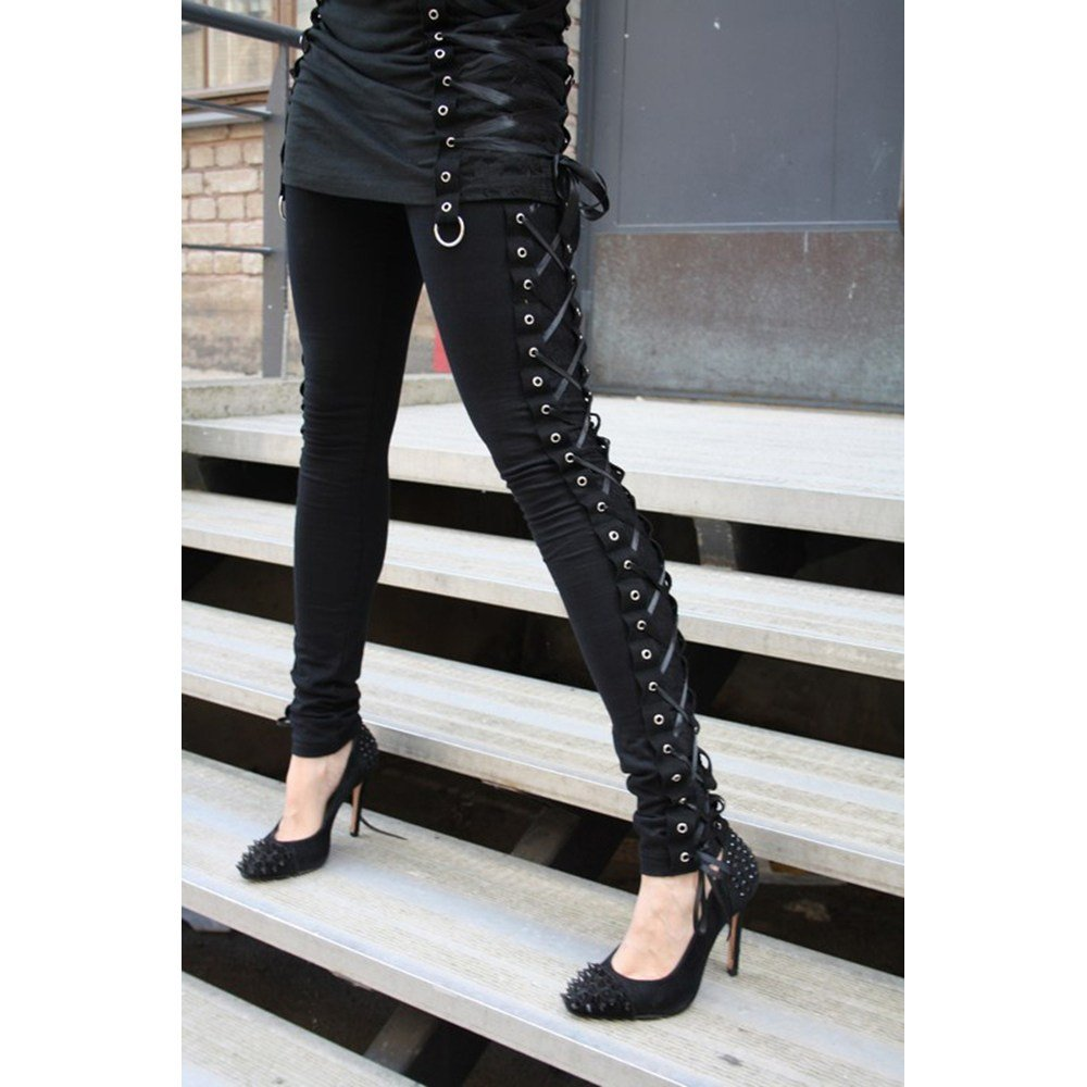 c13a7f333ff6e Vixxsin Punk Lace Up Corset Sexy Long Leggings Skinny Stretch Full Length  Gothic at Amazon Women's Clothing store: