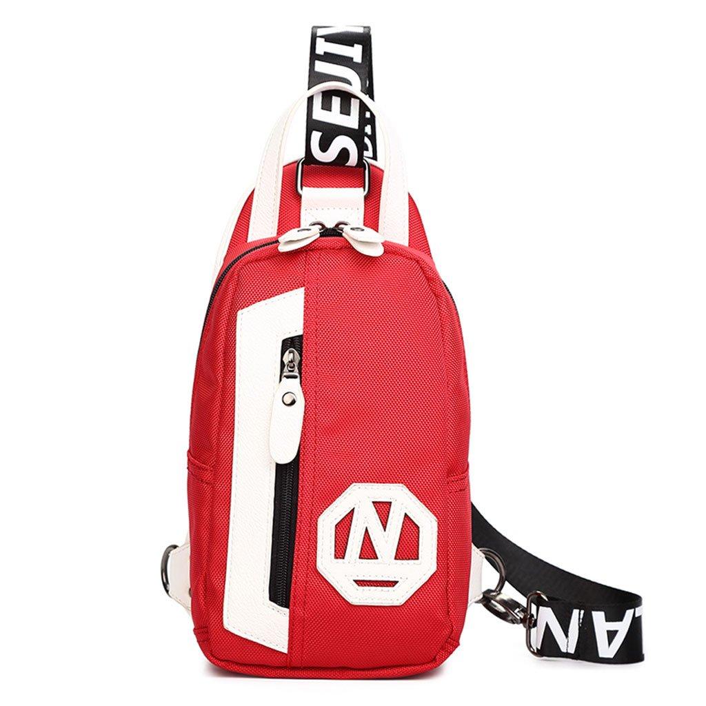 zouqilai新しいアウトドアレジャースポーツキャンバス胸バッグファッションカジュアルメッセンジャーバッグマルチカラー選択 B07D78S9K6 レッド&ホワイト