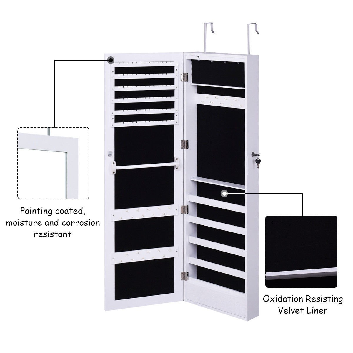 Giantex Wall Door Mounted Jewelry Armoire Organizer with Mirror Locking Organizer with LED Lights by Giantex (Image #5)