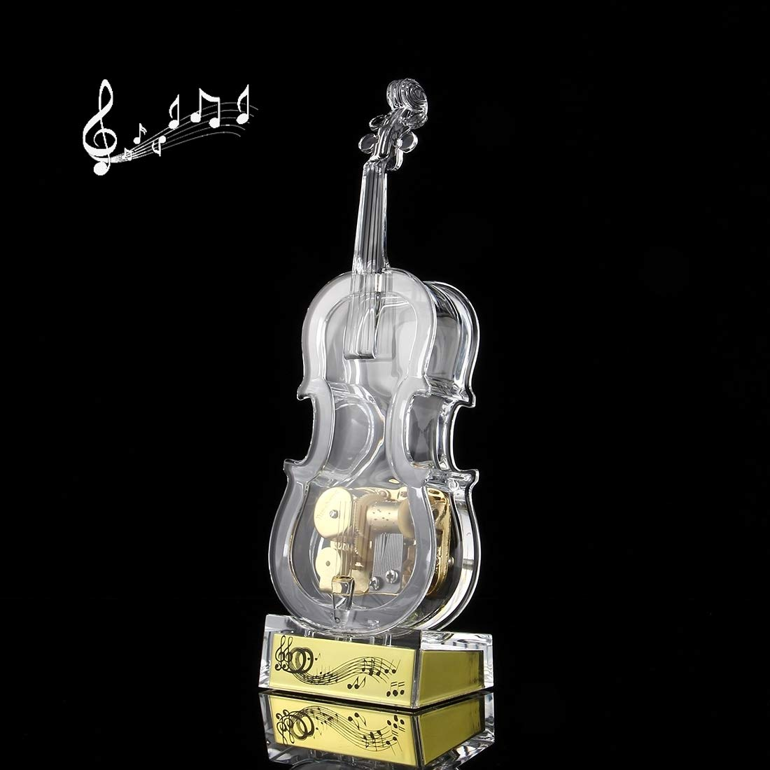 Perfect Home Transparent Crystal Violin Shape Music Box(Middle Size) Easy to use