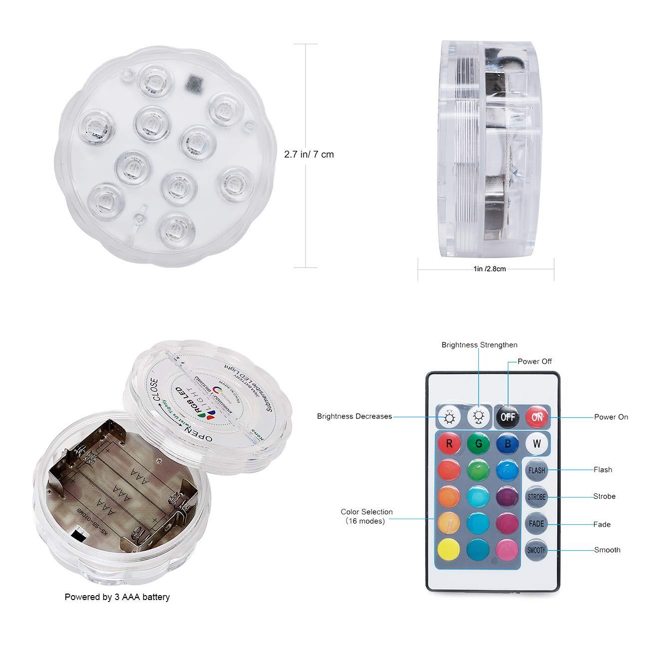 Luz Sumergible, Kolpop Luz Piscina con Mando A Distancia Con Batería 16 Colores que Cambian La Luz Impermeable IP68 para Piscina/Estanque / Acuario/Base de ...
