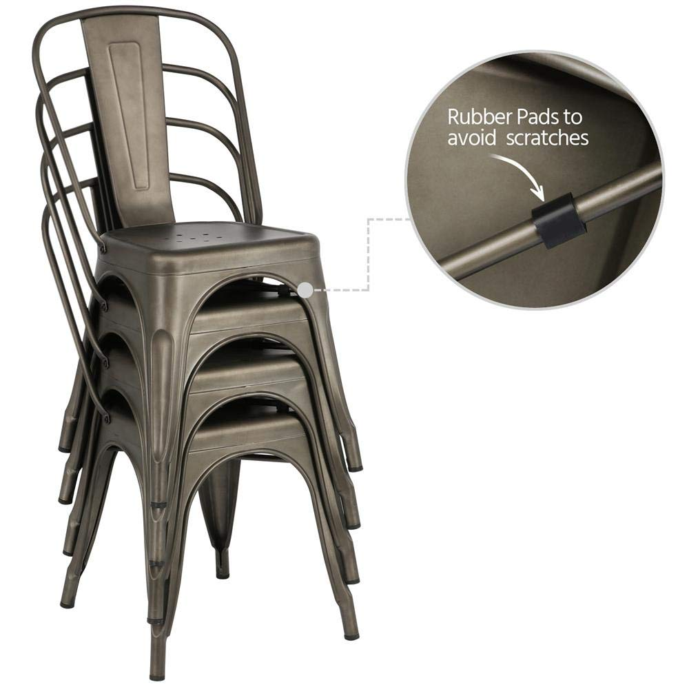 Yaheetech Iron Metal Dining Chairs Stackable Side Chairs with Back Indoor-Outdoor Classic/Chic/Industrial/Vintage Bistro Café Trattoria Kitchen Gun Metal,Set of 4 by Yaheetech (Image #3)