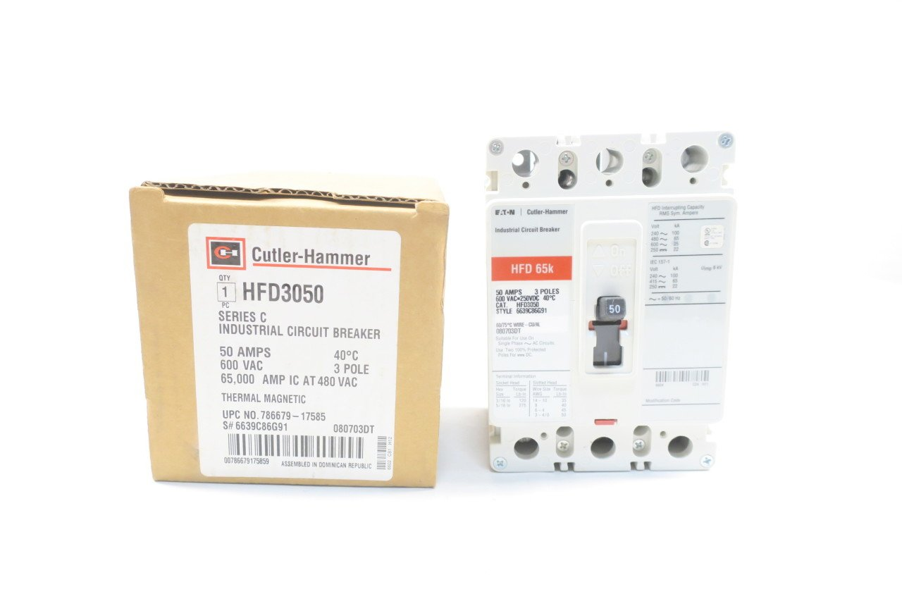 NEW CUTLER HAMMER HFD3050 MOLDED CASE CIRCUIT BREAKER 50A 3P 600V-AC D583834