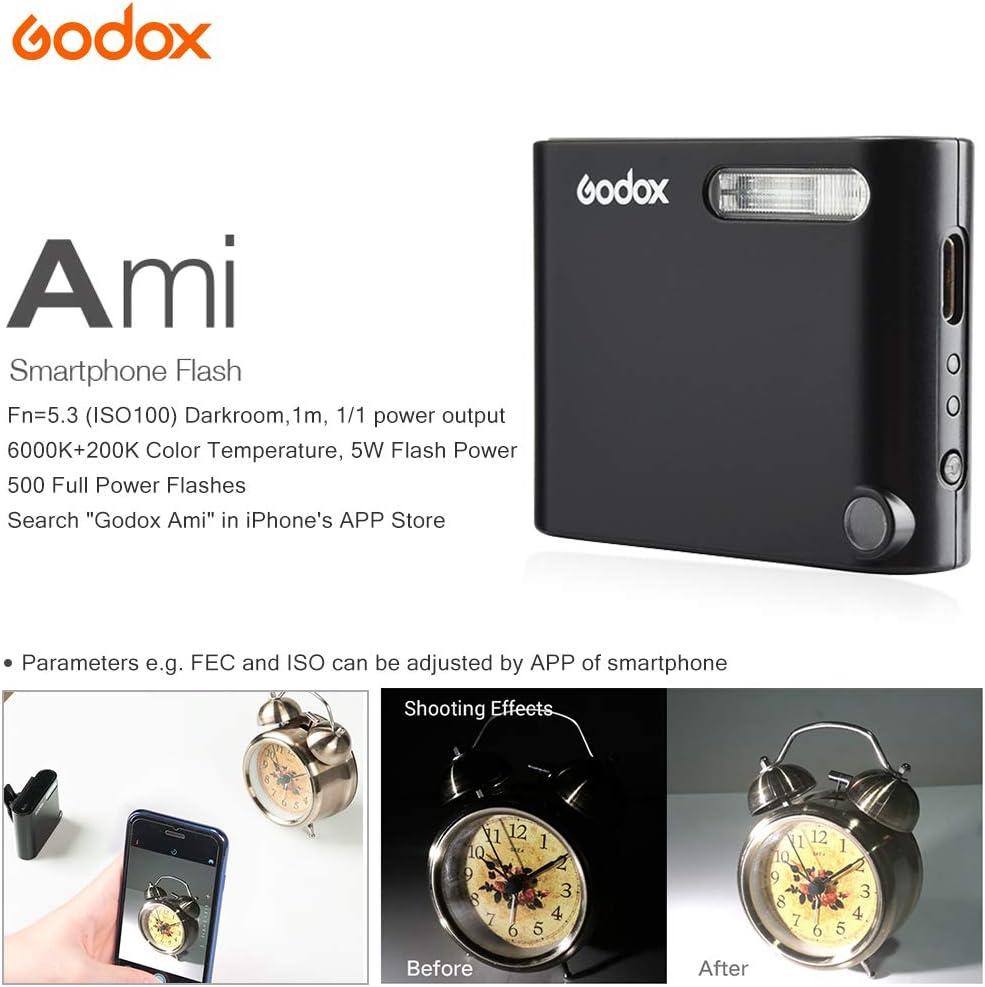 Ami Flash Professional Clip-on Cell Phone Speedlite Built-in Lithium Battery Selfie Light Mobilephone Camera Spotlight Speedlite GODOX Ami A1 Mini Smartphone Flash