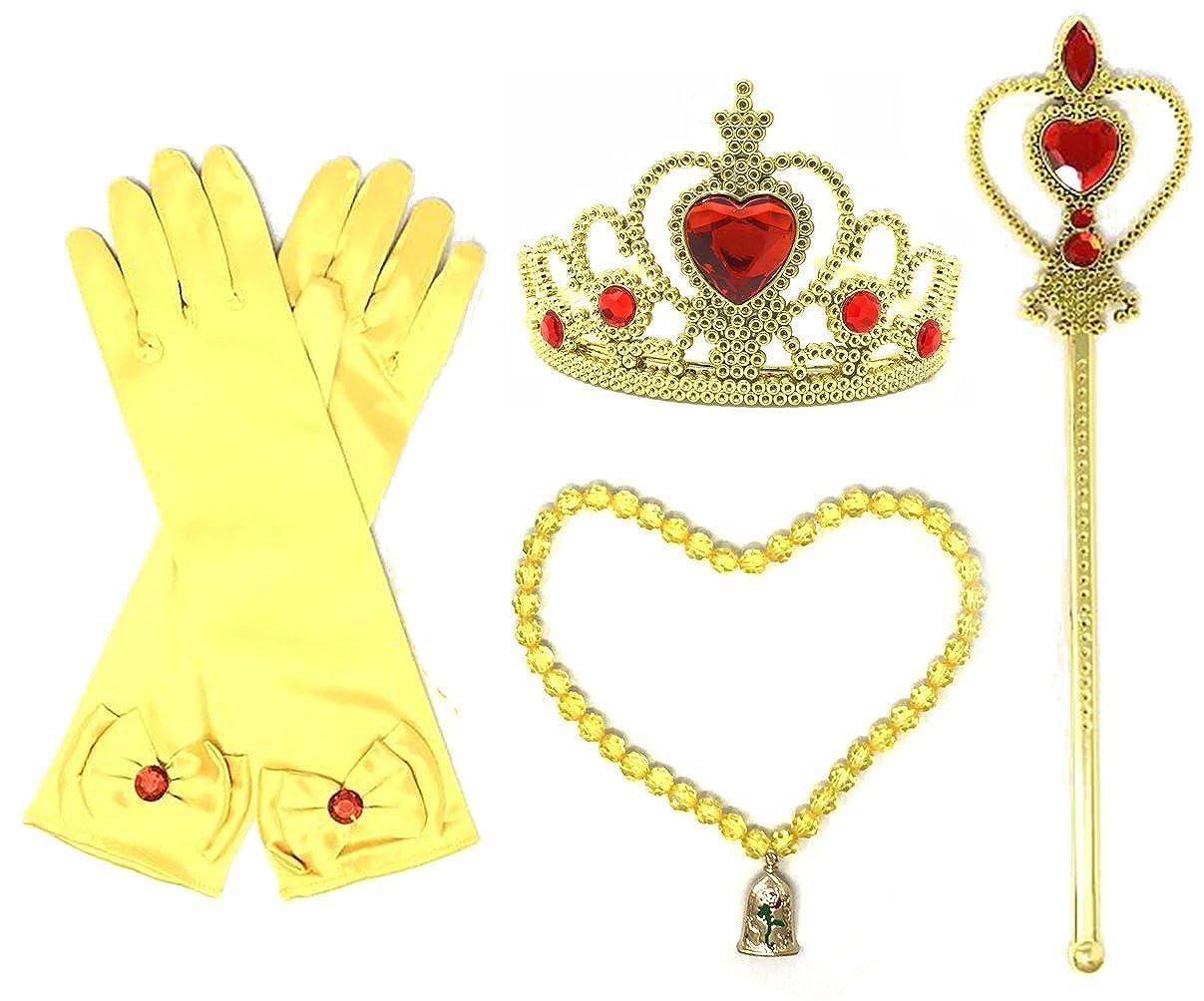 Princess BelleイエロードレスUpパーティーアクセサリー3ピースギフトセット手袋、Tiara and Wand  レッド/ゴールド B06Y1S4RDW
