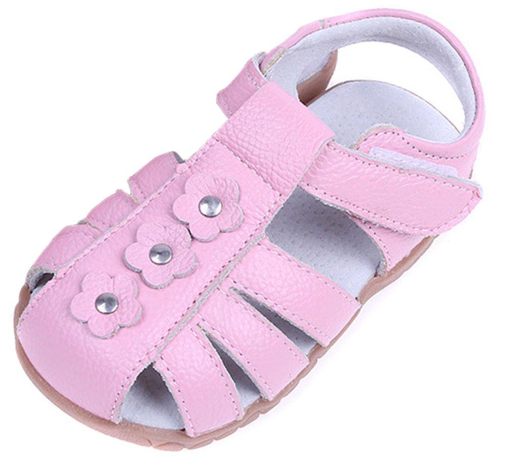 Femizee Girls Casual Leather Closed Toe Flower Princess Dress Sandal(Toddler/Little Kid),Pink,1508 CN24