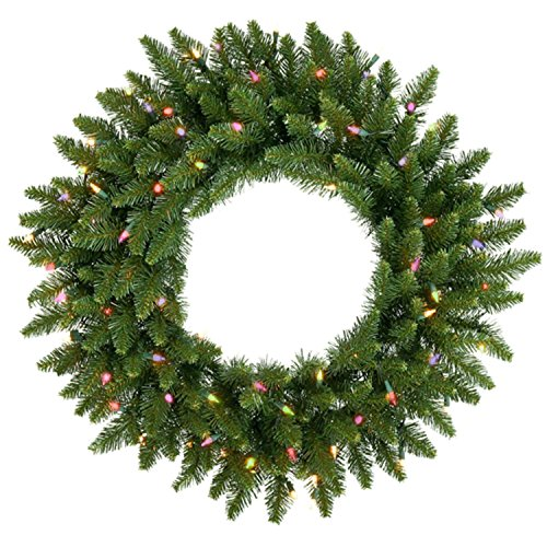 Vickerman Pre-Lit Camdon Fir Artificial Christmas Wreath with Multicolored Dura Lights, 36