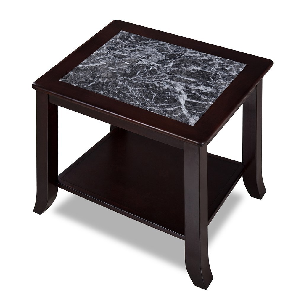Olee Sleep 22'' Grigo Garinico Coffee Table / Black Natural Marble (From Italy) Top / Dark Brown Finish Solid Wood Base
