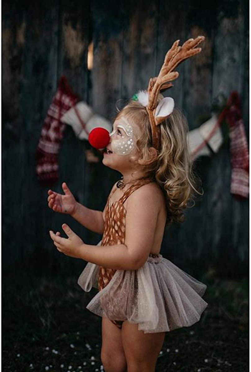 ODASDO Newborn Infant Baby Girl Reindeer Costume First Christmas Outfit Tutu Romper with Headband Set for 0-24 Months