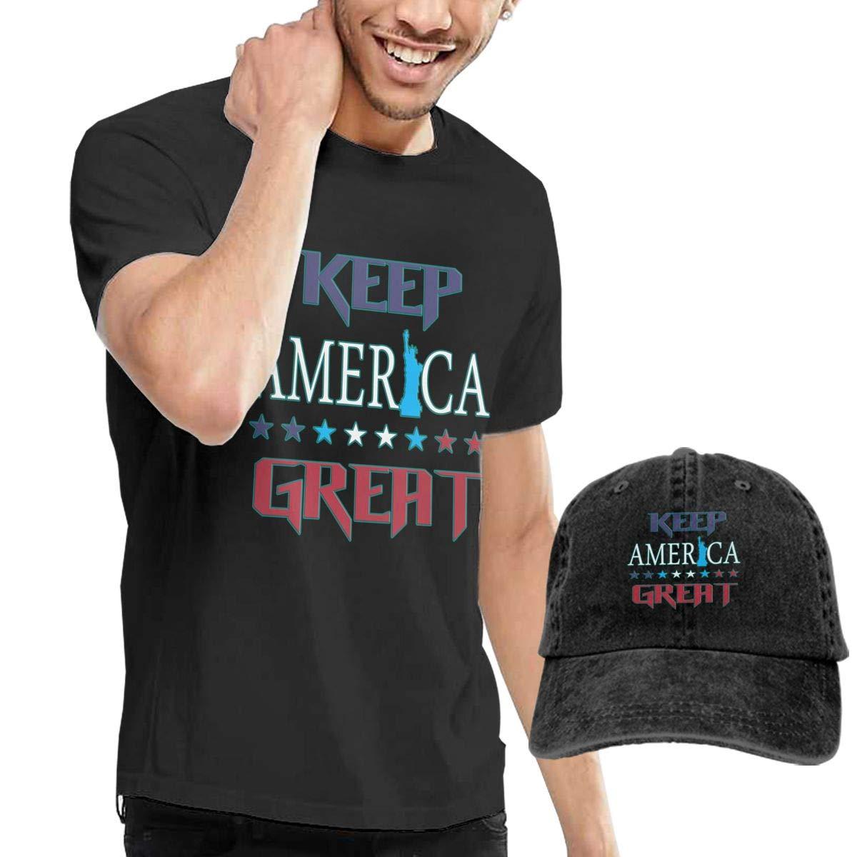 WWTBBJ-B Keep America Great Adult Mens Summer T-Shirts and Baseball Jean Hat