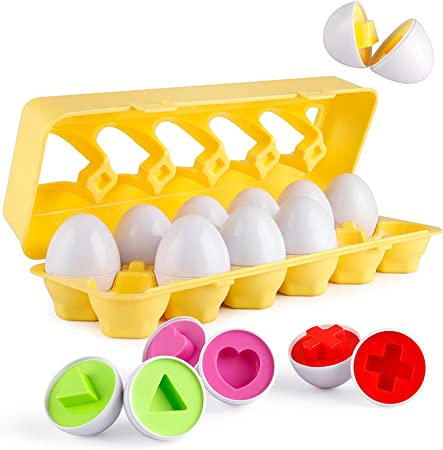 Coogam Matching Eggs 12 pcs Set Color & Shape Recoginition Sorter Puzzle for Easter Travel Bingo Game Early Learning Educational Fine Motor Skill Montessori Gift for Year Old Kids
