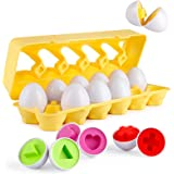 Coogam Matching Eggs 12 pcs Set Color & Shape Recoginition Sorter Puzzle for Easter Travel Bingo Game Early Learning…