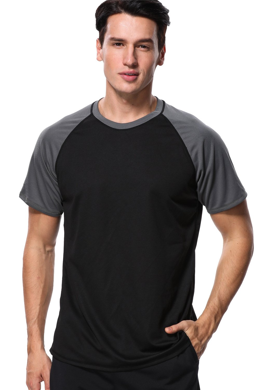 anfilia Mens Surfing Swim Shirt Comfort Sun Shirt High Crew Neck Swim Tee Black XL by anfilia
