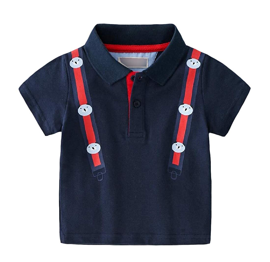 Easonp Boys Cartoon Tee Printed Short Sleeve Polos T-Shirts