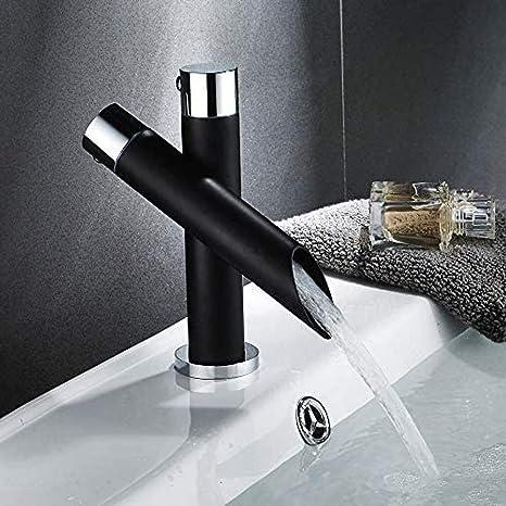 Imagen deQYY Moderno y Exclusivo Grifo de Cascada Grifo de Lavabo Grifo Monomando de Lavabo Negro Monomando Comercial con Accesorios británicos Grifo de Cocina de baño
