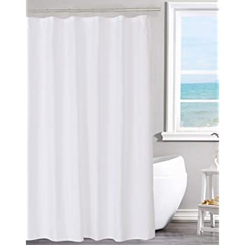 NY HOME Fabric Shower Curtain Liner Solid White Hotel Quality Water Repellent Mildew Resistant Washable Odorless Spa 70 X 72 Inches For Bathroom