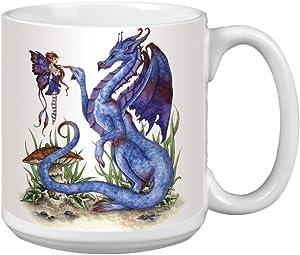 Tree-Free Greetings XM27581 Amy Brown Artful Jumbo Mug, 20-Ounce, Fantasy Attitude Blue Dragon and Fairy