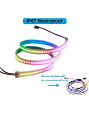 VIPMOON WS2812B 144 LEDs/Pixels/m Black PCB Individual Addressable Full Color LED Pixel Strip Dream Color Waterproof 3.2FT 1m