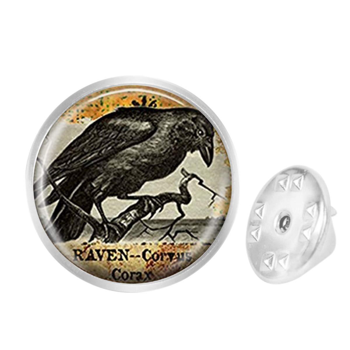 WAZZIT Round Metal Tie Tack Hat Lapel Pin Brooches Raven Goth Halloween Jewelry Blackbird Banquet Badge Enamel Pins Trendy Accessory Jacket T-Shirt