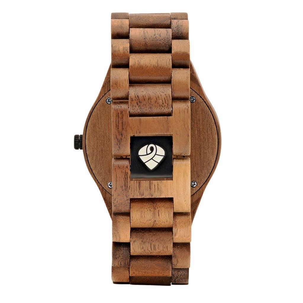 Reloj de pulsera de madera de nogal natural reciclada modelo The Juglan Nut Blue para hombre de la marca Leafwood: Amazon.es: Relojes