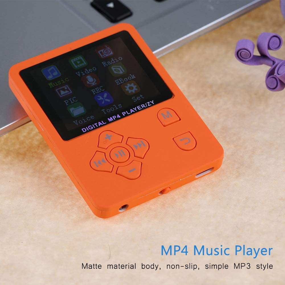 Orange MP4 Player,1.8 inch Full HD Video Mp4 Player Support up to 32 GB,HiFi Lossless Sound Portable MP3